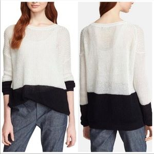 Vince Colorblock Drop Shoulder Linen Sweater